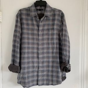 John Varvatos Gray Plaid Button Down NEW!